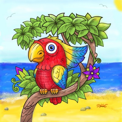 Tropical parrot | Stace | Digital Drawing | PENUP