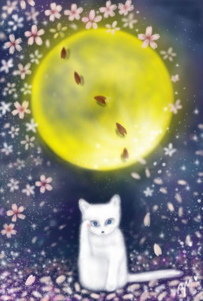 夜桜と月 moon right cat | azu | Digital Drawing | PENUP