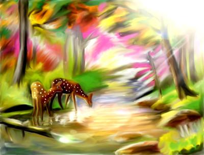 Deers on riverside  | sulakshana | Digital Drawing | PENUP
