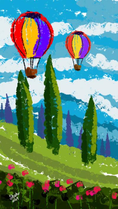 hot air balloons | shahir | Digital Drawing | PENUP