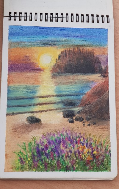 sunset .. oil pastel version | FatemaMusharrof | Digital Drawing | PENUP