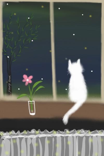 9.별밤 고양이 Starry night cat♡ | youngsook | Digital Drawing | PENUP