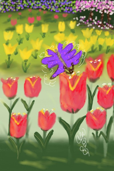 flying through the tulips | Daisy-C.K.W. | Digital Drawing | PENUP