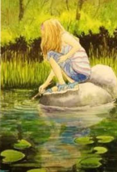 girl in river  | Cat | Digital Drawing | PENUP