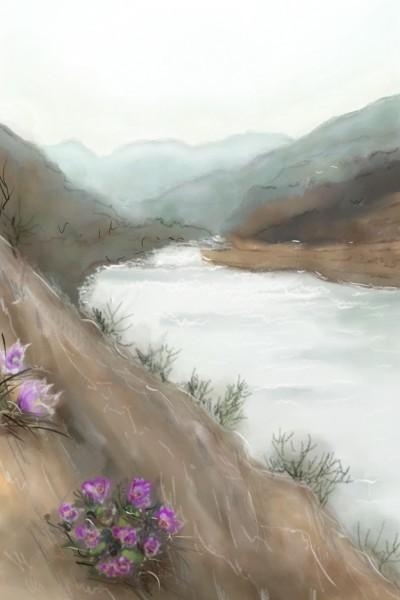 RIVER  영월 동강과 봄의할미꽃 | jinhee | Digital Drawing | PENUP