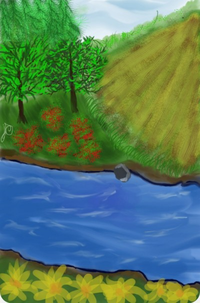 A little hobbie farm on the river | Jules | Digital Drawing | PENUP