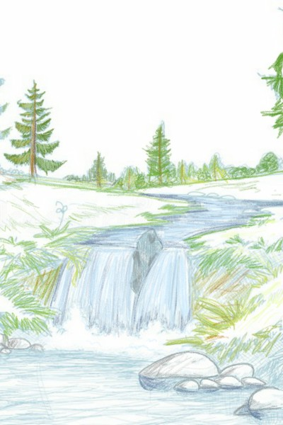 River, falls and the forest | Alexiz | Digital Drawing | PENUP