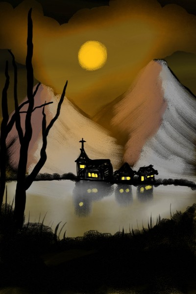 Church at lake | aiR | Digital Drawing | PENUP
