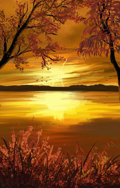 sunset  river | FatemaMusharrof | Digital Drawing | PENUP