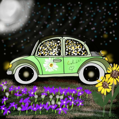 VW bug Garden | Daisy-C.K.W. | Digital Drawing | PENUP