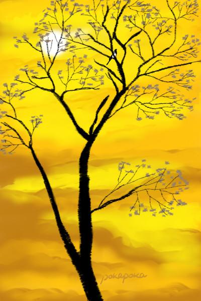 Yellow flower sky (색이 예뻐서 꽃으로 표현)  | pokapoka | Digital Drawing | PENUP