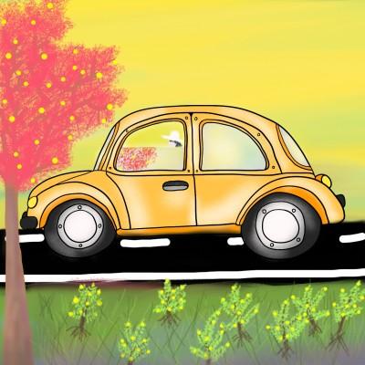 Yellow car and sky | Venkatesh | Digital Drawing | PENUP