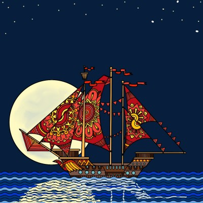 Full moon sailing | Diana | Digital Drawing | PENUP