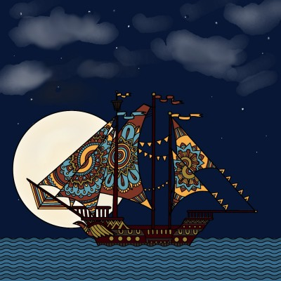 ONe LoNeLy ShiP PAssing In ThE MooNligHt | Mrs.B | Digital Drawing | PENUP