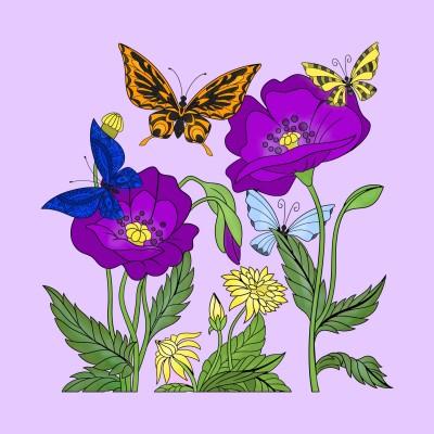Butterflies  & Flowers    Trish   Digital Drawing   PENUP