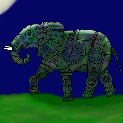 Elephant at night    lisa   Digital Drawing   PENUP