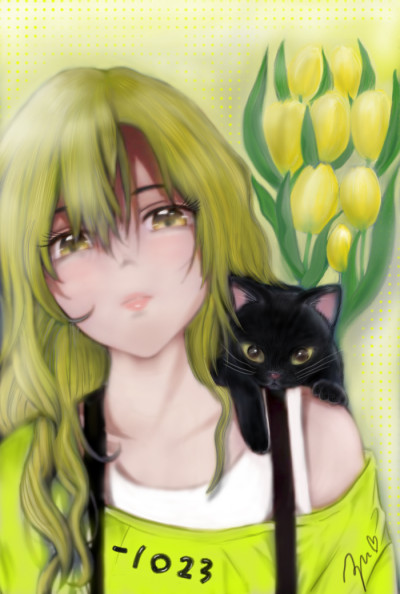 Thank you friend♥for -1023  yellow girl    azu   Digital Drawing   PENUP