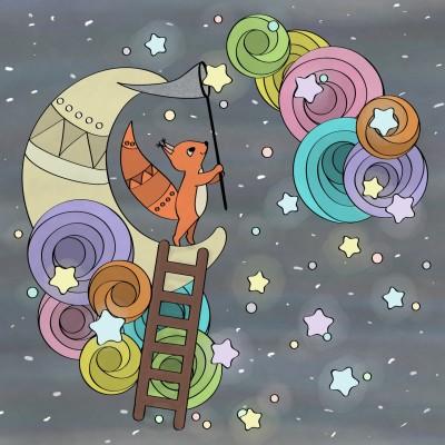 fox on the moon,  catching stars.  | Zenovia | Digital Drawing | PENUP
