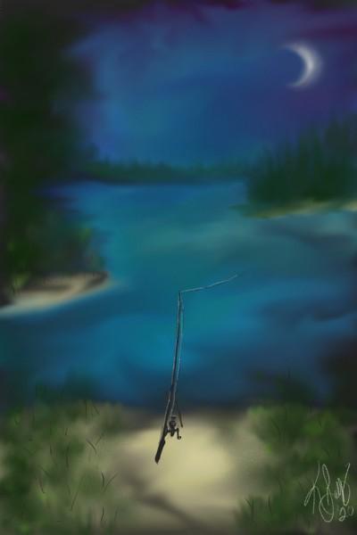 Night fishin' on the river | Blaq | Digital Drawing | PENUP