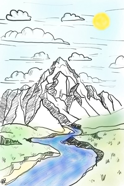 mountain and river♡ | ppannk_7 | Digital Drawing | PENUP