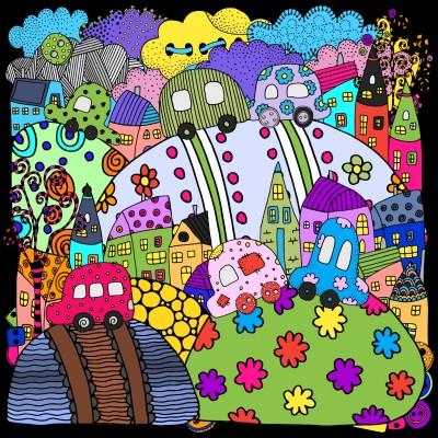 Easter Egg Neighborhood  | Trish | Digital Drawing | PENUP