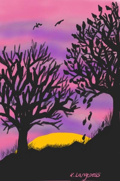 sunset silhouette    _Katlyn_L   Digital Drawing   PENUP