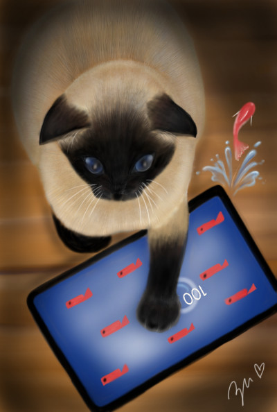 Cat playing a game | azu | Digital Drawing | PENUP