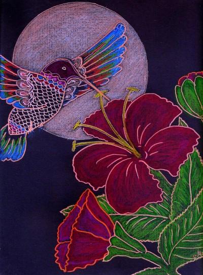 ☆ Midnight Magic in Hibiscus Garden  | Masha | Digital Drawing | PENUP