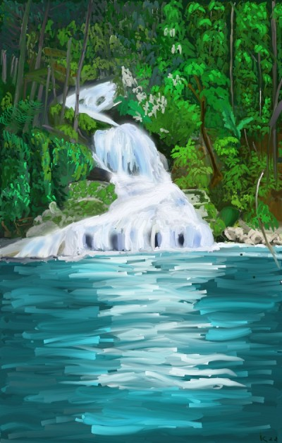 river and waterfall | tinie | Digital Drawing | PENUP