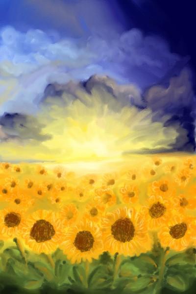 sunflower sunset   Damirijana   Digital Drawing   PENUP