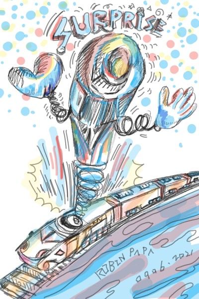 Scary clown train : Shock wave | All_old_art | Digital Drawing | PENUP