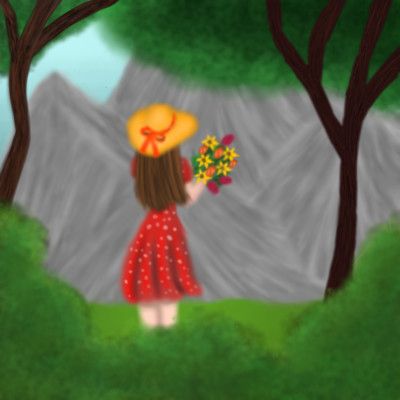collab with @srijani girl with flowers | Veronica | Digital Drawing | PENUP