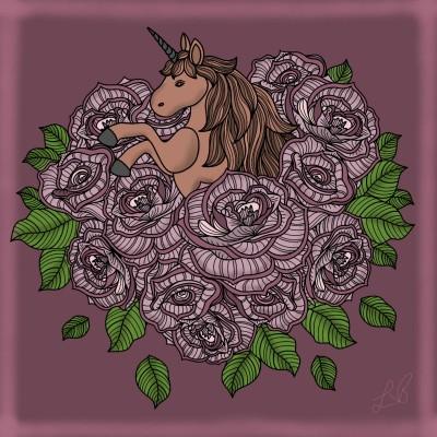 Floral Unicorn  | LDB | Digital Drawing | PENUP