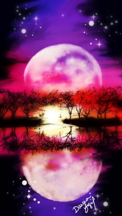 Scenic Moonrise | missdarrian | Digital Drawing | PENUP
