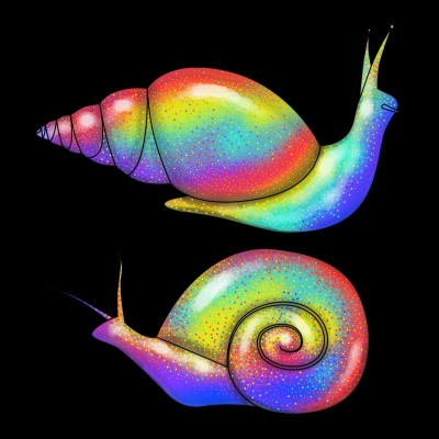 Rainbow Snails at Night | Luxurymapss.com | Digital Drawing | PENUP
