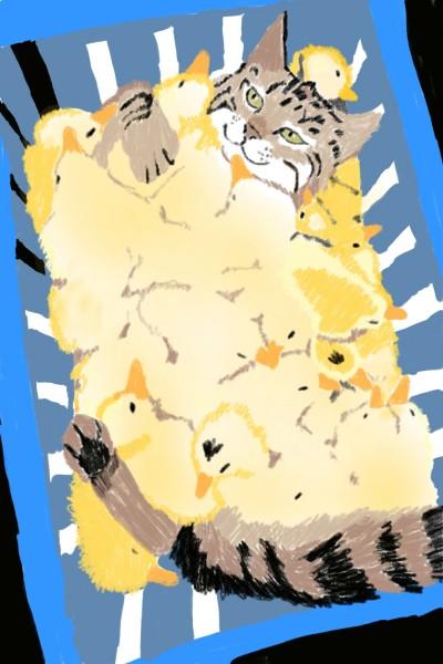 Cat with ducklings   Natasha   Digital Drawing   PENUP