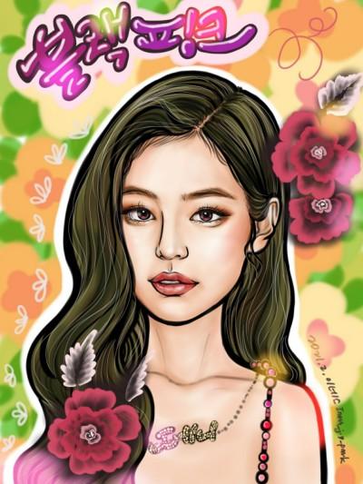 블랙핑크 제니 캐리커쳐   Iness_j.y_park   Digital Drawing   PENUP