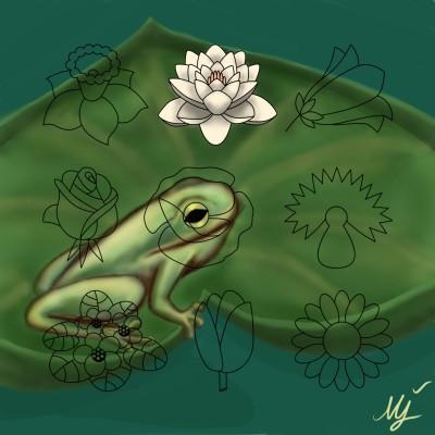 Frog &Lotus  | mjalkan | Digital Drawing | PENUP