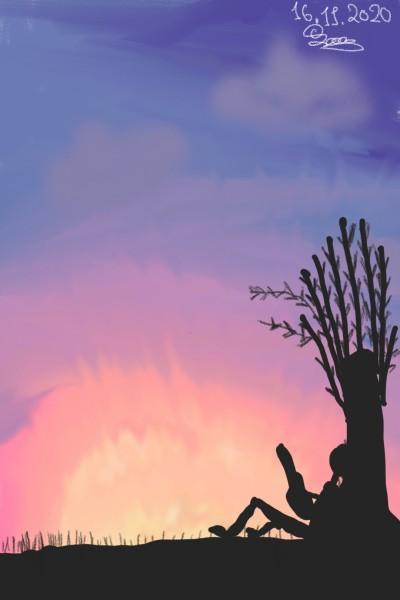 Playing the guitar under the tree  | iiSakura_Roseii | Digital Drawing | PENUP
