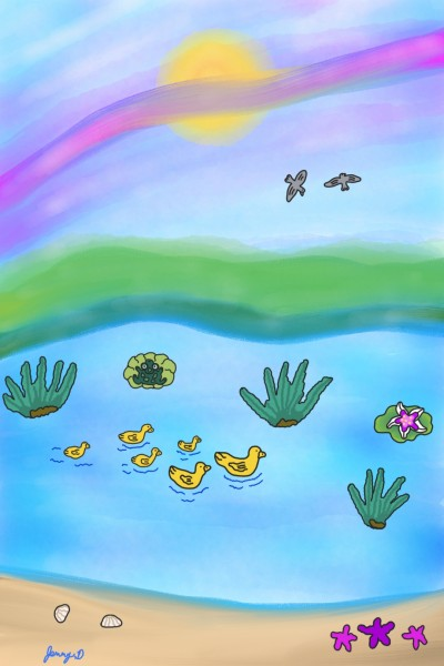 Summer Day With The Duck Family    Jenny.D   Digital Drawing   PENUP