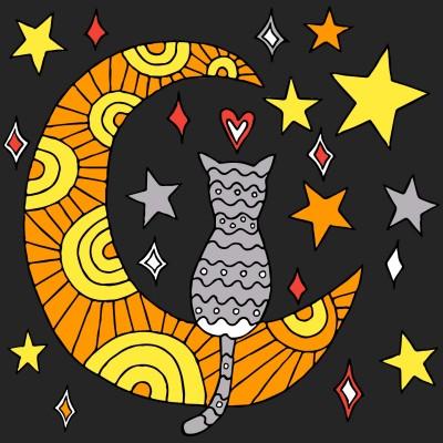 Cat N moon | Boomer | Digital Drawing | PENUP