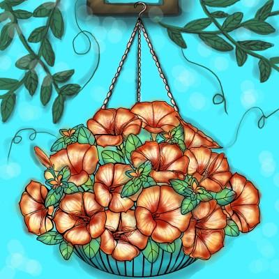 Hanging flower  | Sylvia | Digital Drawing | PENUP