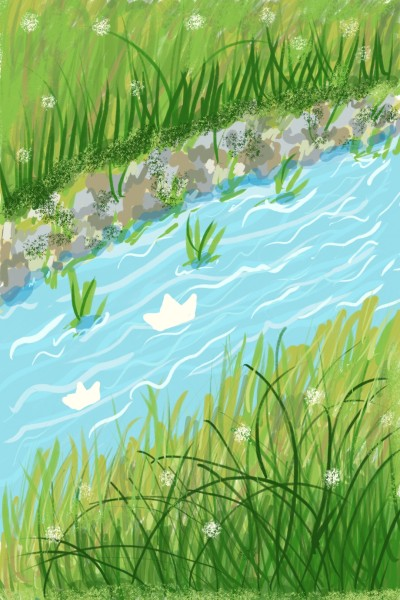 Paper boat in the water stream  | Sylvia | Digital Drawing | PENUP