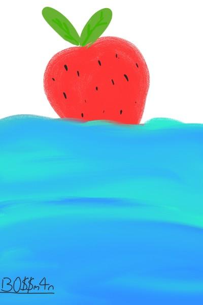 floating strawberry in da Caribbean sea | bossman | Digital Drawing | PENUP