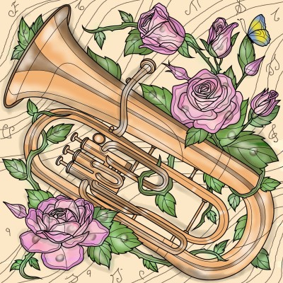 Blow trumpet with roses | Sylvia | Digital Drawing | PENUP