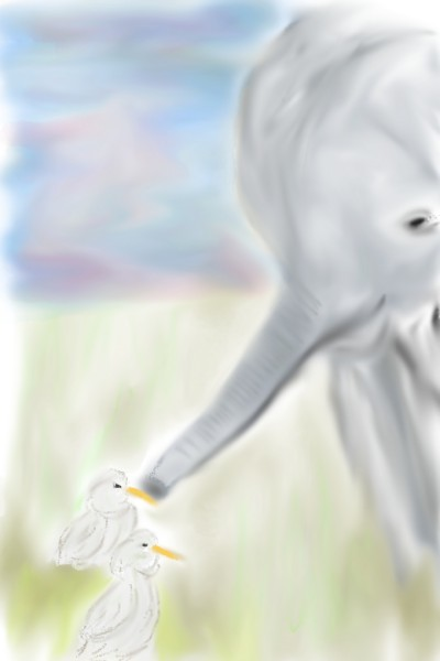 Elephant meets ducks   paulkewley   Digital Drawing   PENUP