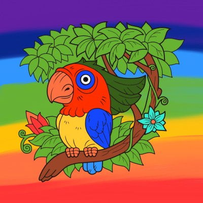 A bird and a rainbow sky   A.K.G_INDIA   Digital Drawing   PENUP