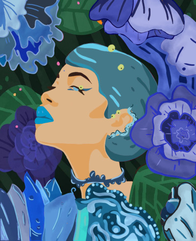 Girl in blue    Sara   Digital Drawing   PENUP