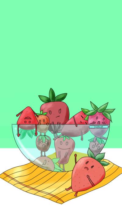 Strawberry Wallpaper | PupleCat | Digital Drawing | PENUP