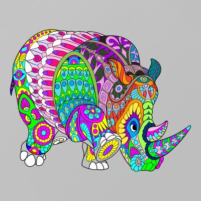 Colorful Rhino | Boomer | Digital Drawing | PENUP